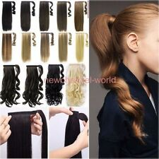 Long Wrap Around Pony tail Clip In On Ponytail as human Hair Extensions Blonde