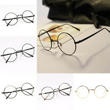 New Vintage Style Clear Lens Round Glasses Gold Metal Frame Unisex Eyeglasses 1X