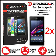2x GENUINE BRUEDON 9HR Sony Xperia Z1 Z2 Z3 Z5 Tempered Glass Screen Protector