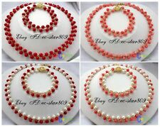 "D0132 17"" 6mm nature round FW pearl coral necklace bracelet"