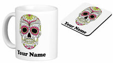 Personalised Mug Cup Sugar Skull with your TEXT (name), Birthday gift s2