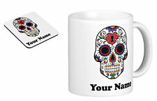 Personalised Mug Cup Sugar Skull with your TEXT (name), Birthday gift s4
