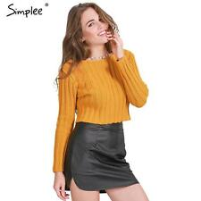 Women Knitted Pullover Sweater Autumn Winter Long Sleeve Party Crop Top Jumper