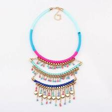 heart gold plated colorful string statement bead pendant necklace for women 2016