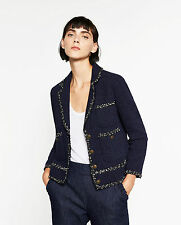 ZARA *Navy Blue Tweed Jacket* NEW_SIZE_XS_S_M_L_XL_XXL