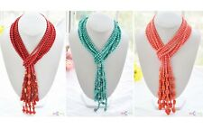 """D0147 100% real 4strands 50"""" 6mm coral agate turquoise bead necklace"""