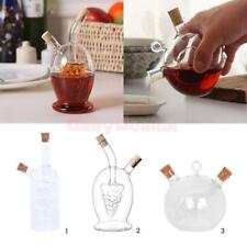 2-Outlet Glass Olive Oil Dispenser Jar Vinegar Bottle Pot Kitchen Sauce Cruets