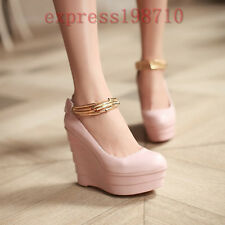 Womens Ankle Strap Platform High Heel Round Toe Leather Pumps Wedding Shoes Hot