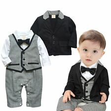 Baby Boy Wedding Christening Formal Tuxedo Suit+Jacket Outfit Clothes Set 3-24M
