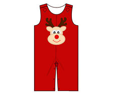 NWT Christmas Reindeer Applique on Red Longall by The Smocked Shop