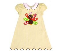 NWT Thanksgiving Turkey Yellow Gingham Turkey A-Line Dress by The Smocked Shop
