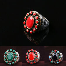 Bohemian Vintage Finger Rings Retro Resin Carving Pattern Ring Jewelry Hot Sale