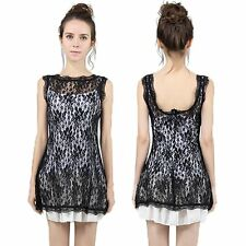 Sexy Lady Sleeveless Summer Sundress Evening Party Mini Backless Lace Dress