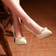 4Color US10.5Womens Hot Sexy Pointed Toe Bow Tie High Stilleto Heels Pumps Shoes