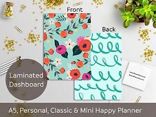 Floral Blue - Laminated Dashboard - Happy Planner, Filofax A5 or Personal size