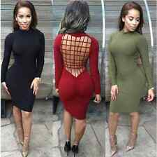 SEXY WOMENS SLIM BACKLESS BODYCON DRESS LADIES PARTY SEXY PENCIL DRESS SIZE 6-14