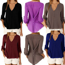 Chiffon Loose Long sleeves Women Casual Summer Tops Tee Shirt Blouse New V-neck