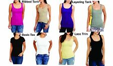 Faded Glory Womens Basic Lace Ribbed Tees and Tanks, Choose Size/Color/Size, C61