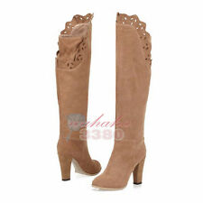 Fashion Women Winter Dress Casual Round Toe Square Heel Knee High Boots Shoes