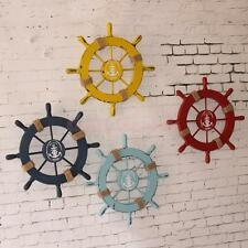 Nautical Beach Wooden Anchor Boat Pirate Ship Wheel Wall Hanging Plaque Decor