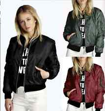 UK Womens Ladies Classic Casual Bomber Jacket Vintage Zip Up Biker Outwear