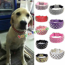 New Adjustable Pet Dog Cat PU Leather Bling Collar Puppy Necklace Strap Buckle