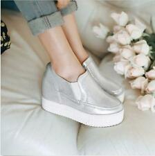 Womens Slip on High Wedge Heels Creepers Platform Slip On Sneakers Casual Shoes