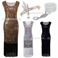 1920s Flapper Dresses Gatsby Sequins Tassels Beaded Cocktail Fancy Party Costume