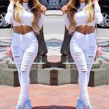 Women Sexy High Waisted Skinny Ripped Denim Pants Slim Pencil Jeans Trousers AT