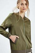 TOPSHOP *Khaki Satin Bomber Jacket* NEW_UK6_8_10_12_14_16