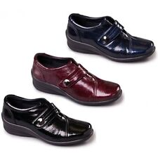 Padders SIMONE Womens Ladies Patent Leather Touch Fasten Dual Extra Wide Shoes