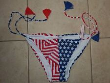 VICTORIAS SECRET PATRIOTIC STARS STRIPES RED WHITE BLUE SWIM BIKINI BOTTOM NWT