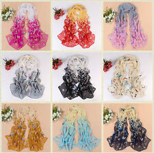 Hot Fashion Women's Lady Chiffon Butterfly Floral Colors Scarf Soft Long Shawl/