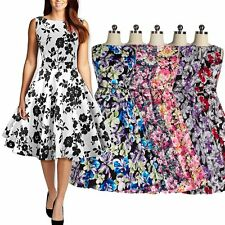 1950s Vintage Retro Style Womens Dress Floral Printed Housewife Sleeveless Dress