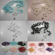 Long String Of Beads Imitation Pearl Pendant Necklace Beads Silver Chains Like