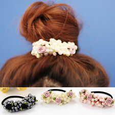 Women Pearls Hair Band Elastic Bead Flower Rope Scrunchie Ponytail Holder