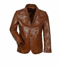 MENS CLASSIC BLAZER 2 button TAN millano Bufflow LONG LIFE Real Leather Jacket