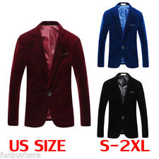 Mens Stylish Coat Jacket Blazer Slim Fit Velvet Fashion Casual One Button Suit