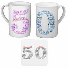 Personalised Bone Chine Mug, Word Art Birthday gift 50th, With your own words