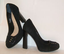AUTOGRAPH SIZE UK 4 4.5 M BLACK REAL PATENT LEATHER SUEDE HIGH HEEL COURT SHOES