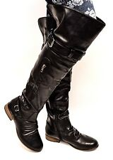Women Over the Knee Buckles Low Flat Heel Riding Dress Boots Strap Side Zip