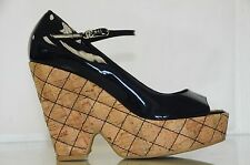 New Chanel Navy Blue Patent Leather CC Logo Quilted Cork Wedge Platform Shoes 42