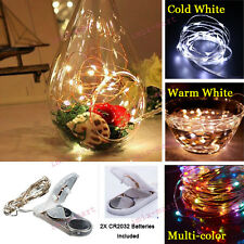 Waterproof 2M 20LED CR2032 Battery Warm White Copper Wire String Light Xmas