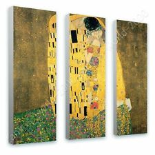 CANVAS +GIFT The Kiss Gustav Klimt 3 Panels Prints Paints Pictures Giclee