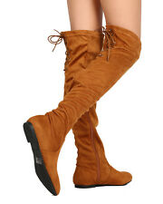 New Women Nature Breeze Vickie-40OK Faux Suede Over The Knee High Back Lace Boot