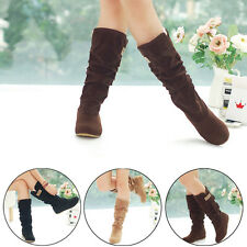 Women's Slouchy Wide Cute & Comfort Round Toe FlatBoots Mid Calf Knee Boots #GE