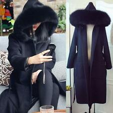 HOT  Women Black Wool Blend Jacket Fur Collar Hooded Warm Winter Trench Coat New