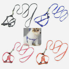 Fashion Printed Small Dog Pet Puppy Cat Adjustable Nylon Harness With Lead Leash