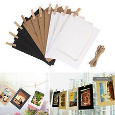 10X Paper Photo Flim DIY Wall Picture Hang Album Stand Kraft Frame+Rope+Clip Set