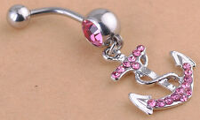 Nice Rhinestone Anchor Dangle Button Barbell Belly Navel Ring Bar Body Piercing
